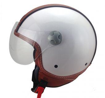 Hjälm Öppen / visir vit med brun läderdetalj XS