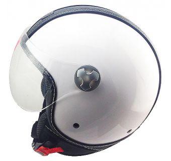 Hjelm Åpen / visir hvit med deltaljer i svart skinn M
